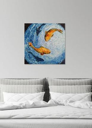 """Картина """"золотые рыбки"""", масло, холст, пастозная живопись."""