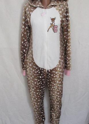 Тёплый махровый слип кигуруми человечек пижама бемби