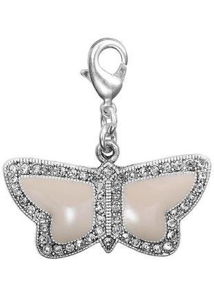 Подвеска шарм бабочка бежевая эмаль pilgrim дания элитная ювелирная бижутерия