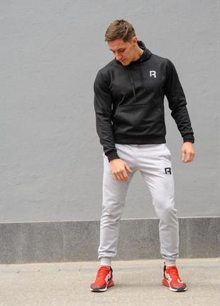 Мужской спортивный костюм reebok (рибок), черная худи и серые штаны весна-осень