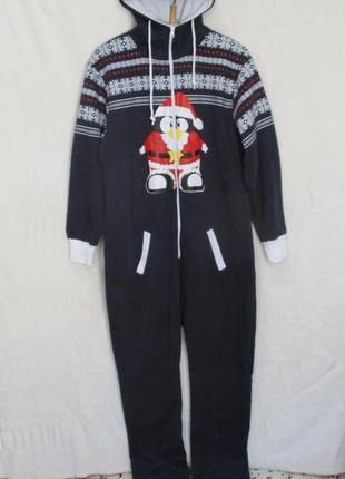 Тёплый трикотажный с начёсом слип человечек пижама/домашний костюм