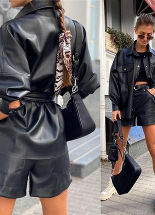 Костюм кожаный шорты+ рубашка черный