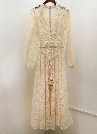 Платье zimmermann кружевное бежевый4 фото