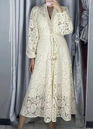 Платье zimmermann кружевное бежевый1 фото