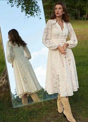 Платье zimmermann кружевное бежевый2 фото