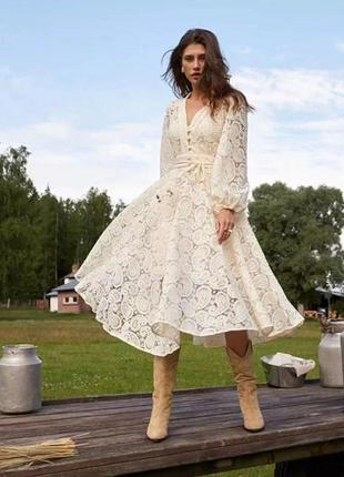 Платье zimmermann кружевное бежевый3 фото