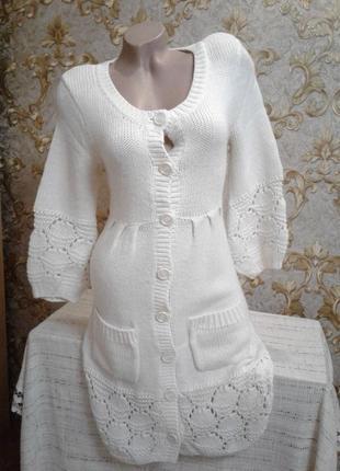 Теплое вязанное платье кардиган