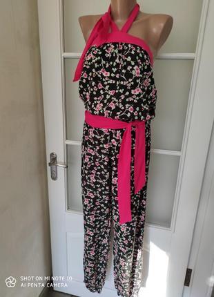 Комбенизон штанами цветочный принт сакура
