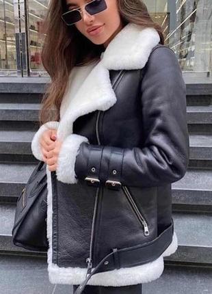 Кожаная дублёнка черная тёплая куртка эко кожа