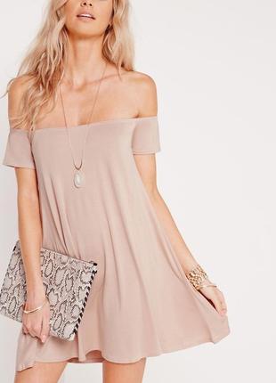 Платье мини на плечи свободного кроя нюдового цвета missguided
