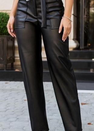 Стильные кожаные брюки 42-54