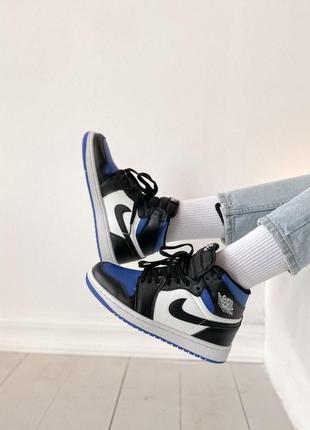 Nike jordan1 retro high black blue white 🆕 женские кроссовки 🆕 купить наложенный платёж