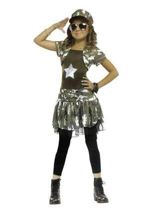Маскарадный костюм девушка-солдат платье+фуражка