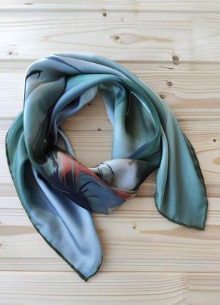 Шёлковый платок, зелёный.