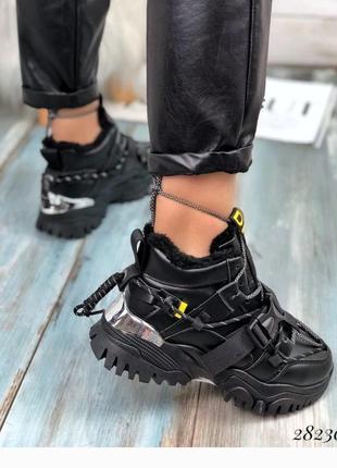Стильные тёплые кроссовки на платформе, зимние кроссы, кроссовочки на меху