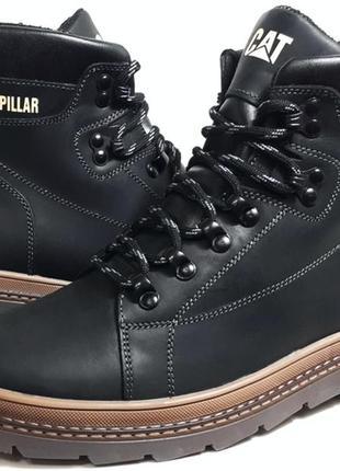 Кожаные мужские зимние ботинки cat model b-30 чёрные