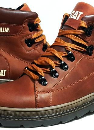 Кожаные мужские зимние ботинки cat model b-30 кирпичный цвет