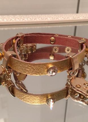 Длинный кожаный стильный браслет  alexander mcqueen