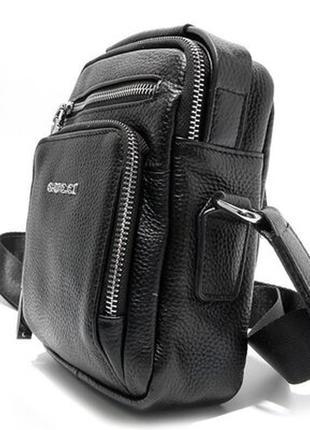 Кожаная мужская сумка через плечо на молнии