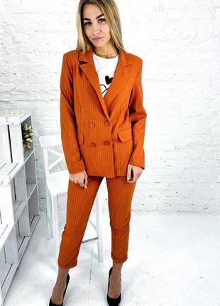 Ультрамодный костюм в полоску пиджак и брюки джоггеры укороченные. костюм двойка полоска