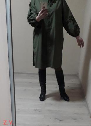 Элитное,статусное, просторное котоновое платье-рубашка в стиле бохо,оверсайз