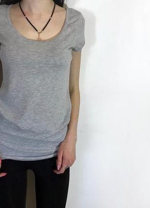 Женская базовая футболка h&m ( эйч энд эм хс-срр идеал оригинал серая)