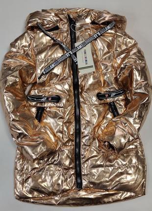 Подростковая демисезонная куртка пальто для девочки золото с бронзой 8-10 лет 2024