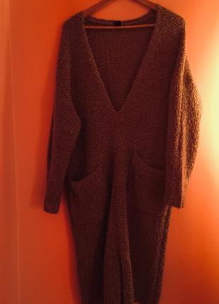 Платье-свитер  оверсайз трикотажное букле,lindex,швеция