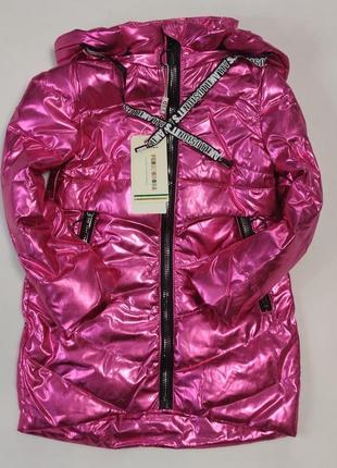 Детская демисезонная куртка пальто для девочки малиновая 5-9 лет 2026