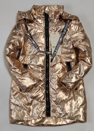 Детская демисезонная куртка пальто для девочки  золото блеск 4-9 лет