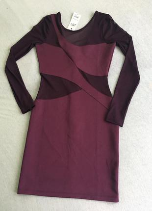 Интересное  вечернее коктейльное платье с полупрозрачными вставками uk8-10