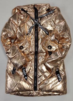 Детская демисезонная куртка пальто для девочки 4-6 лет зотото блеск