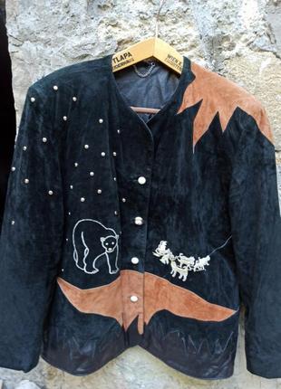 Винтаж замш полярная ночь куртка