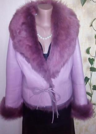 Роскошная 100% натуральная дубленка с мехом/шуба/пальто/дубленка/полушубок/куртка/пуховик
