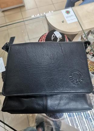 Кожаная сумка черного цвета \ сумка через плечо \ мужская сумка \ сумка diesel