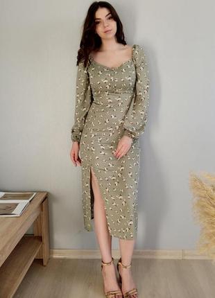 Великолепное платье миди с разрезом
