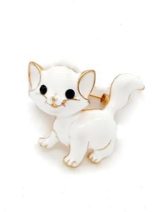 """🐱🌹 милая нежная брошь """"белая кошка"""" эмаль кот котенок брошка значок"""