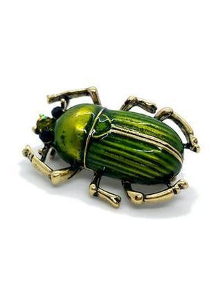 """🍀✨ необычная брошь """"зеленый жук"""" с эмалью и кристаллами скарабей жучок брошка значок"""