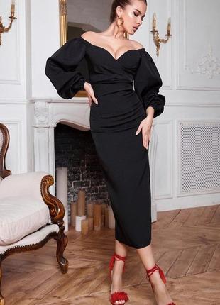 Платье миди с объемными рукавами