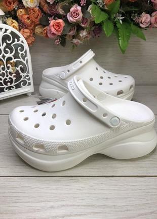Кроксы на платформе crocs classic bae clog белые. оригинал.
