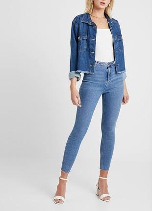 Плотные джинсы скинни скини высокая посадка рваный низ край new look