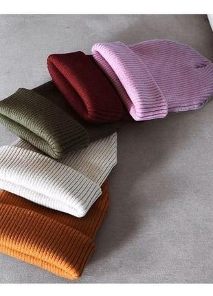 Стильная вязанная шапочка состав акрил 70% 30% шерсть объём 55-57 см