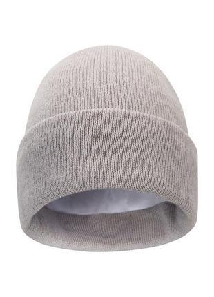 Трикотажная шапочка thinsulate двойная шапка с подворотом зимняя тёплая на подкладке флис