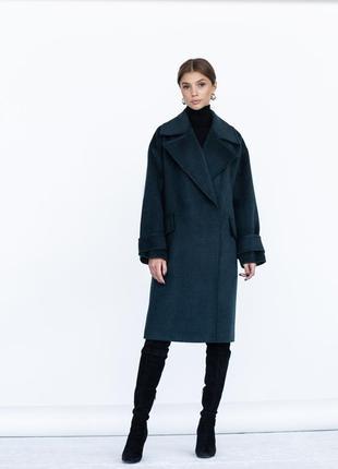 Шерстяное пальто с широким воротником на кнопках зима демисезон