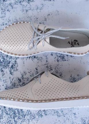 Бежевые туфли на шнурках, оксфорды 38 размера с кожаной серединой