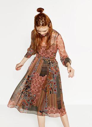 Шифоновое платье миди в принт от zara