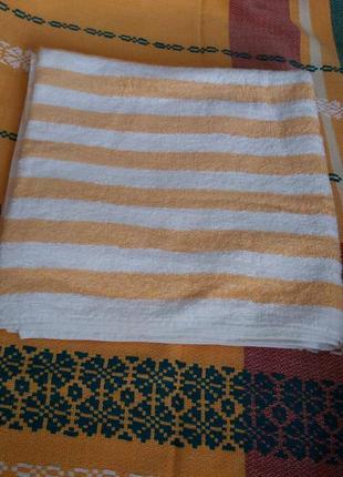 Якісний банний рушник 58х118 см. банное полотенце в белую и оранжевую полоску.