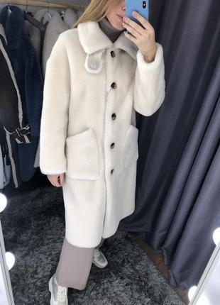 Шуба меховое пальто 100% натуральный мех овчина
