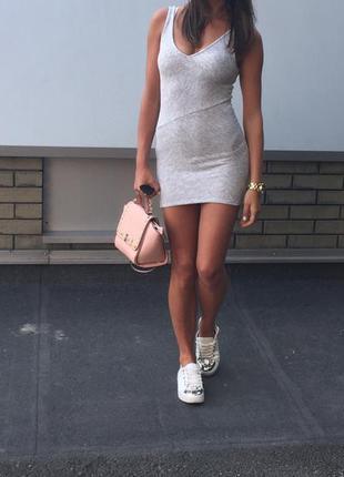 Платье серое bershka