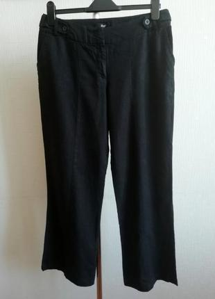 Натуральные черные льняные брюки f&f